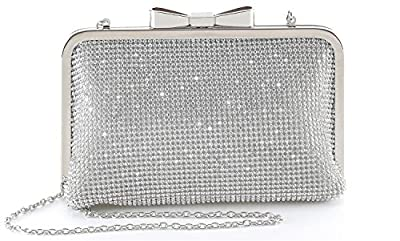 Yuenjoy Womens Crystal Rhinestone Evening Bags Wedding Clutch Purse with Bow Frame