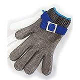 強力耐切創 衛生防刃手袋 100%ステンレス メッシュ 作業用手袋 耐切創 レベル5 グローブ 軍手 (S:手のひら幅9.5cm)