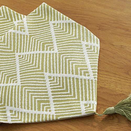 Coner moderne jacquardstof tafelloper dressoirsjaals met kwastje stropdas textuur machinewas bed lopers, groen, 32 * 180cm