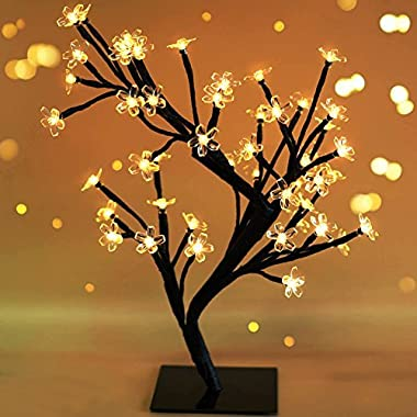 Bright Zeal 17.5  Battery Operated LED Cherry Blossom Tree with Lights (6hr Timer) - Bonsai Lighted Tree - Cherry Blossom Tree Light Lamp Tabletop LED Tree Lamp - Spring Home Decor Artificial Plants