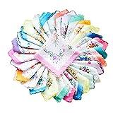 COCOUSM Womens Vintage Floral Print Cotton handkerchiefs Bulk 5 PCS...