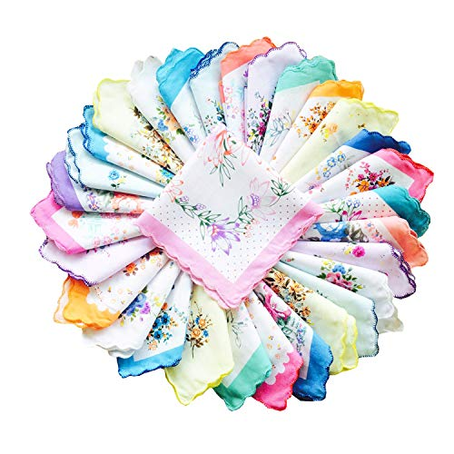 COCOUSM Womens Vintage Floral Print Cotton handkerchiefs Bulk, Multicolor, 10 PCS