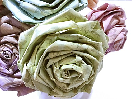 Vintage Floral Pastel Paper Rose Sticks Home Decor Artificial Flora Flowers Gift for Her Wedding Paper Flower Bouquets Handmade (Bunch of 5-6 Roses)