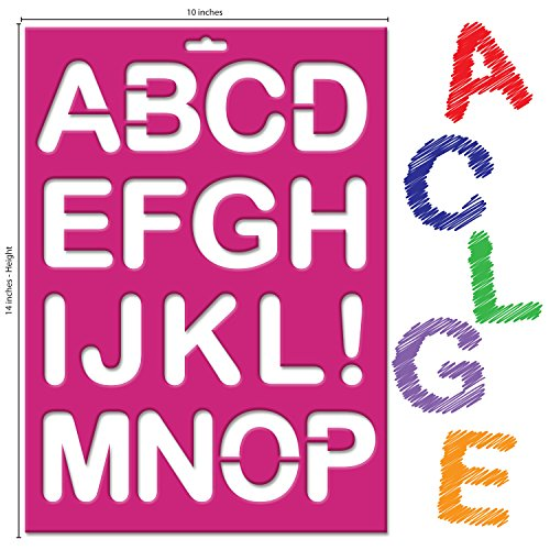 Karty Letter Stencils - Large Size Alphabet, Numeric, and Symbols - Reusable Plastic Kit