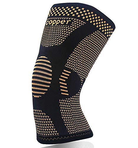 Copper Knee Brace for Arthritis Pain and Support-Copper knee sleeve Compression for Sports, Workout,Arthritis Relief-Single(L)