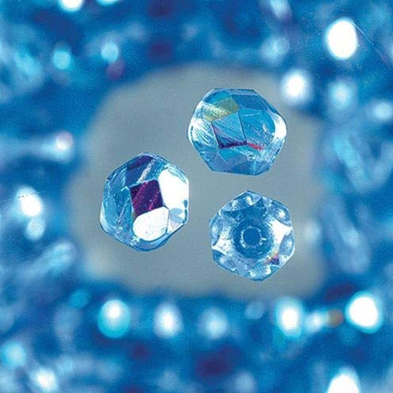 Efco Glass Faceted Beads Round, Iridescent 4 mm 100 pcs. Middle Blue, 3 x 3 x 2 cm