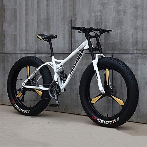 Bicicletas, Bicicletas De Montaña, Bicicletas De 26 Pulgadas 7/21/24/27 Velocidad, Variable Hombres Mujeres Estudiantes De La Bici Velocidad, Fat Tire Bicicletas De Montaña Para Hombre,Blanco,27 Speed