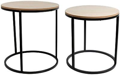 THE HOME DECO FACTORY HD6177 Lot de 2 Tables Basses Gigognes Rondes Bois Métal, Fer, Beige, Noir, 38 x 41 x 38 cm