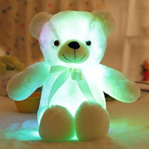 Brigamo Leucht Plüschtier Bär Teddybar Plüsch Kuscheltier mit Nachtlicht Farbwechsel (weiß)