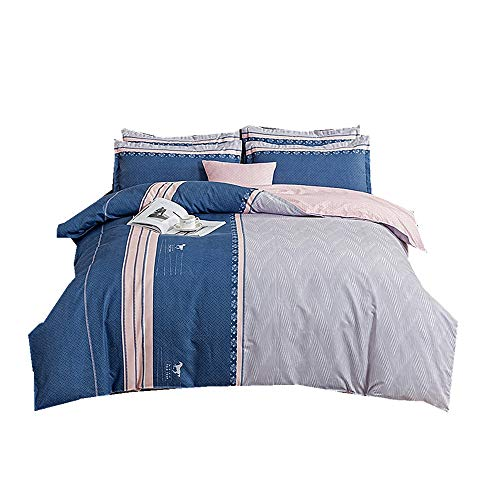 Bedding Set 3 pieces, Lattice Stripe Flower Print Duvet Cover Set + Pillow Case,Thick,Cotton Microfiber Duvet Cover For Adults Women Mens (Grey Blue,Single 150 x 200 cm)