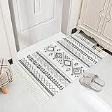 N&N Alfombra persa negra y blanca de algodón para sala de estar, lavable a...