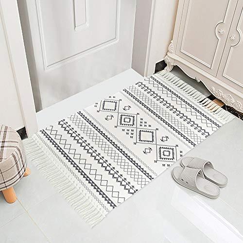 NN Persischer Schwarzweiss-Teppich Baumwollteppiche für Wohnzimmer Maschinenwaschbar Geometrisch Bedruckt mit Quaste Handgewebter Teppich für Küche, Schlafzimmer, Badezimmer, Fußmatte 60 x 90 cm