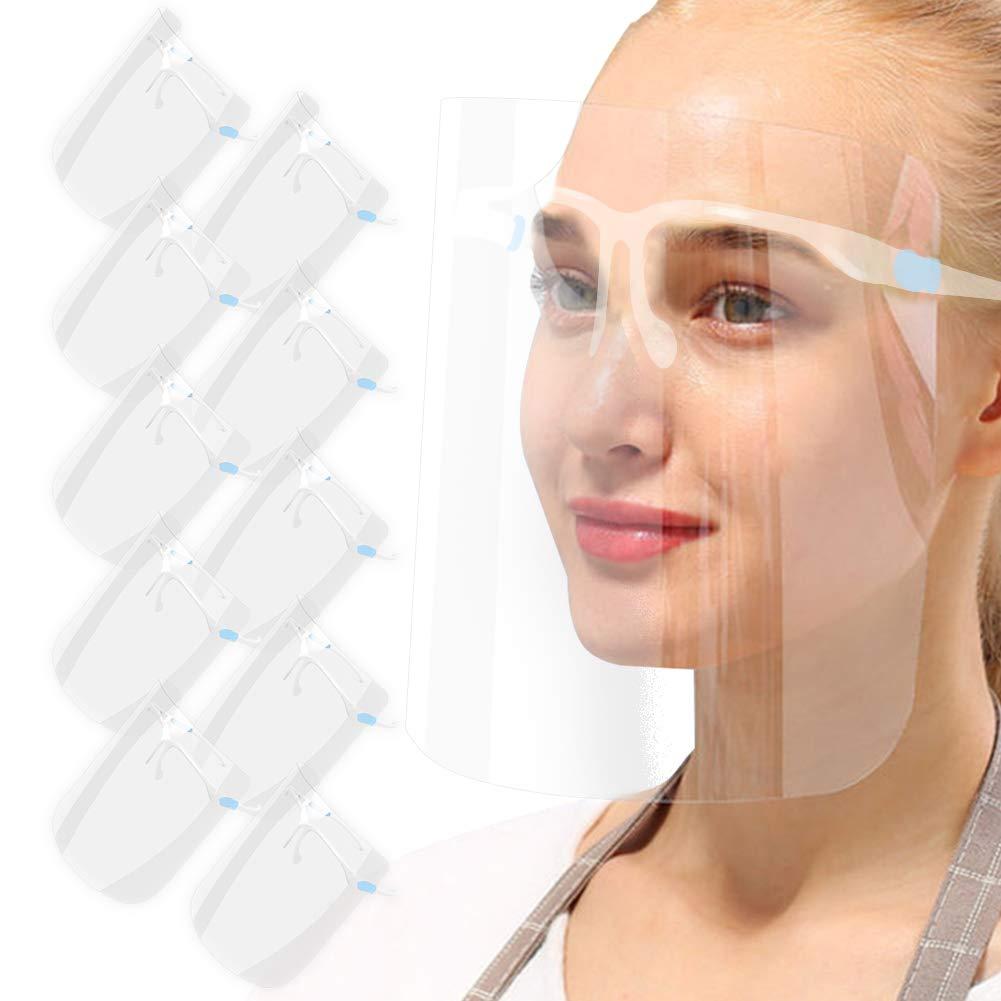 AIEOE 10 Pcs Pantalla Plástica de Protección Facial Visera Protectora para la Cara Transparente Gafas de Seguridad Anti Escupir Color Diáfano