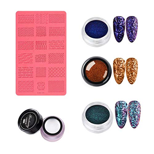 3D relief 4D Relief Sculpture Nail Art Mold Set NEW, Decorating Tool DIY Nail Multicolor Art Decor Stereoscopic Effect Fashion 2021 (Set A)