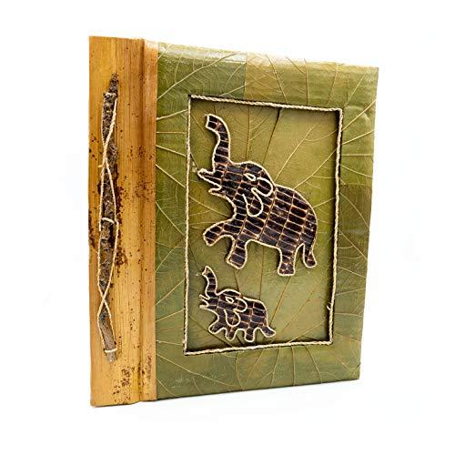 Mienloco Fotoalbum exotisch album foto's natuur handgemaakt bamboe papyrus foto's zelf inplakken 37x32cm FA3.
