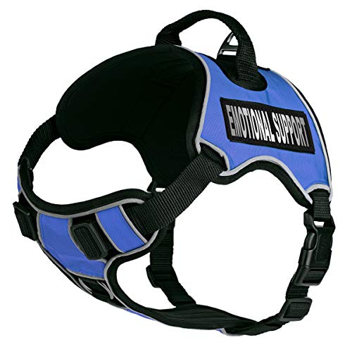 Dogline Quest No-Pull Dog Harness with Emotional Support Reflective Removable Patches Soft Comfortable Dog Vest with Quick Release Dual Buckles Black Hardware and Handle 25 to 31 inches Blue