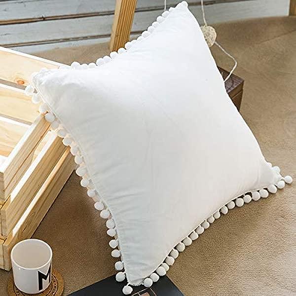 声明件 Pom Poms 流苏 100 棉抱枕套沙发或床上枕套仅 18X 18英寸 45x45 厘米仙女白色