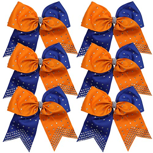 8 Inch 2 Colors Cheerleader Bows Ponytail Holder with Rhinestones Hair Tie Cheerleading Bows 6 Pcs (Orange/Royal Blue)