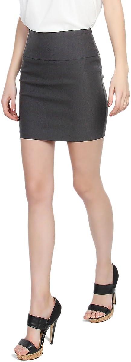 TheMogan Women's Stretch Woven High Waist Short Mini Skirt W Bodycon Pencil Cut
