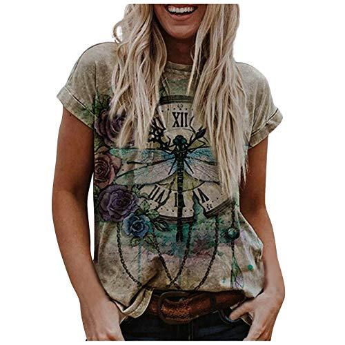 Camiseta Mujer Manga Corta Camisa Casual Suave con Estampado de Animales para Mujer Camiseta Holgada con...