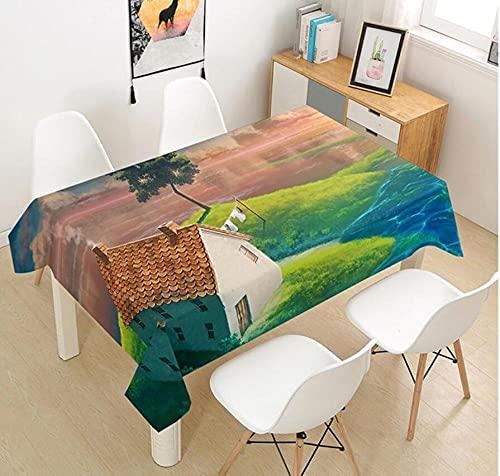 Yqgdss Hermosa Casa Edificio Mantel 3D Diseño De Cocina Mesa De Comedor Mesa De Comedor Decoración De Cocina Comedor Familiar Actividades Interiores Al Aire Libre 120x120cm