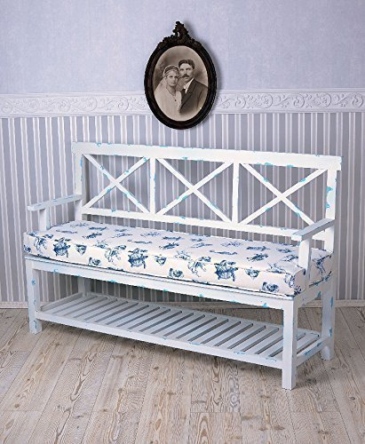 Maritime Sitzbank, Bank, Gartenbank, Holzbank, Sitzböbel im angesagten Shabby-Chic-Stil in vespielter Optik aus Holz gefertigt - Palazzo Exclusive