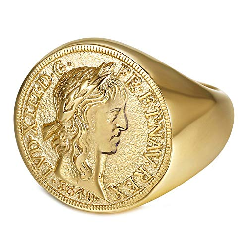 BOBIJOO JEWELRY - Louis XIII Anillo de Sello para Hombre Redondo Completo...