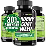 LabsMen 2-in-1 Horny Goat Weed Extract with Epimedium (13mg Icariin), Maca, Tribulus Terrestris, L Arginine & Ginseng – Testosterone Booster for Men | Enhance Stamina, Performance & Libido