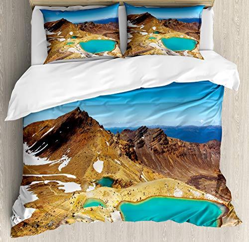 ABAKUHAUS Nieuw-Zeeland Dekbedovertrekset, Emerald Lakes Foto, Decoratieve 3-delige Bedset met 2 Sierslopen, 200 cm x 200 cm, Veelkleurig