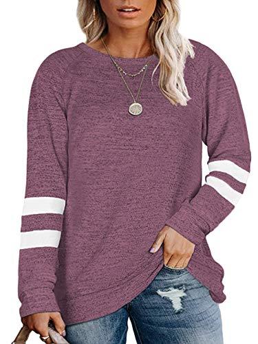 Plus Size Tops for Women 2X Striped Long Sleeve Shirts Sweatshirts Purple-20W