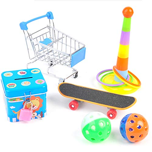 Sayletre Mini Shopping Cart Stacking Ring Ball Piggy Bank Skateboard Pet Bird Bite Chew Toys Set Parrot Interactive Toy for Parakeets Cockatiels Macaws