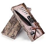 Richer-R レトロ万年筆セット 古典的な書道ペン 自然の羽の彫刻 書道レトロ万年筆 絶妙なライティングペンギフトボックスセット クリスマス バレンタイン贈り物(ブラック)