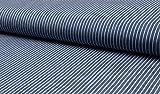 Baumwollstoff, leichter Blusen Jeans Stoff mit Streifen als