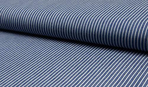 Baumwollstoff, leichter Blusen Jeans Stoff mit Streifen als Meterware zum Nähen, 50 cm