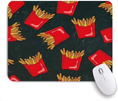 SUHOM Gaming Mouse Pad,Realistische Skizze Doodle Style Knusprige Pommes Frites mit roten Papierboxen gebratener Kartoffeln auf einer schwarzen Tafel,für Computer Laptop Office Desk,240 x 200mm
