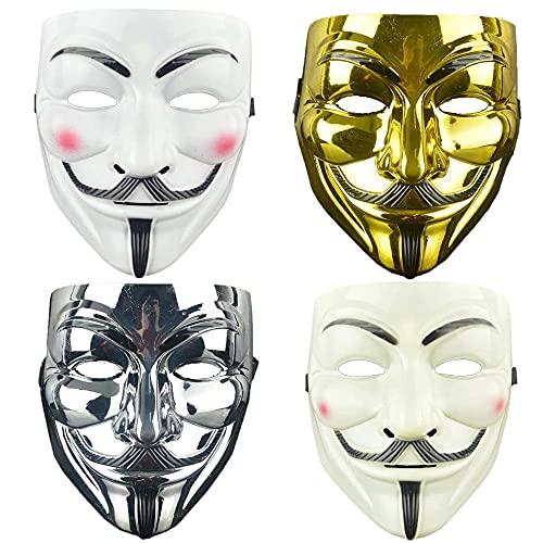 yizeda Juego de 4 máscaras de Vendetta Guy, para Halloween, cosplay, fiestas de Halloween, cosplay, fiestas de disfraces (4 colores)
