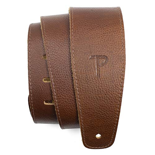 Perri's Leathers Ltd. Saddle Leather Guitar Strap, Tan, Adjustable Length 41' to 56', Comfortable, Soft Non-Slip Backing, 2.5' Wide, Made in Canada, For Electric, Acoustic and Bass Guitars