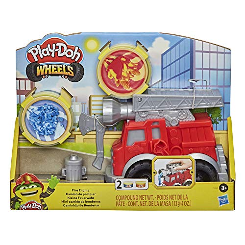 Play-Doh Wheels Fire Engine Playset with 2 Non-Toxic Modeling Compound Cans Including Water and Fire Colors, Firetruck Toy for Kids 3 and Up