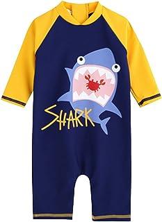 Evedaily こども水着  UVカット ボイズビーチウエア 日焼け保護ダイビング服 温泉着 長袖デザインで皮膚保護 サーフィン服 2-13歳