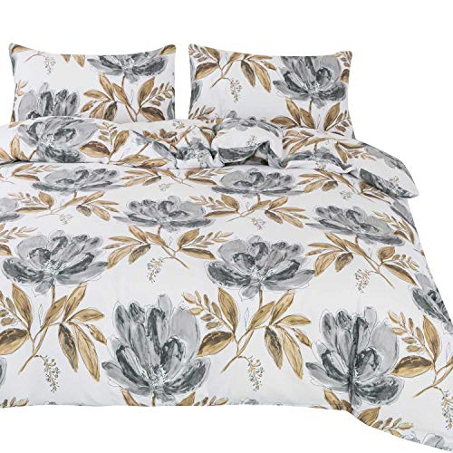OREISE Duvet Cover Set Full/Queen Size 100% Cotton 3Piece Bedding with Zipper Closure (Leaves and Flowers,Queen)