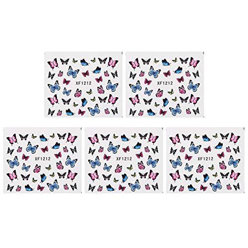 Beaupretty 5pcs Nail Art Sticker Papillon Nail Tip Decal Safe Manucure Décoration pour les femmes (XF1212)