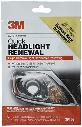 3M Quick Headlight Renewal, Helps Remove Light Haziness and Yellowing in Minutes, Hand Application,...