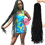 7 Packs 36 inch Soft Locs New Faux Locs Unjoined Whole Strands Super Long Crochet Hair Pre Looped Goddess Locs for Black Women (1b)