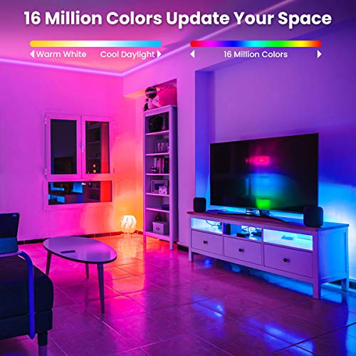 Elfeland LED Strip Lights 32.8FT/10M 300 LEDs IP65 5050 RGB Strip Lights Music Sync Color Changing Rope Lights Flexible Tape Light Kit with APP Controller for Bedroom Home Kitchen