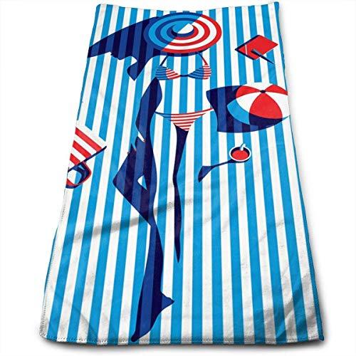 huibe Toallas de baño Bikini a Rayas Chica Arte Pintura Toallas para la Cara Toallas Altamente absorbentes Toallas Multiusos para Mano Cara Gimnasio y SPA 30x70 cm