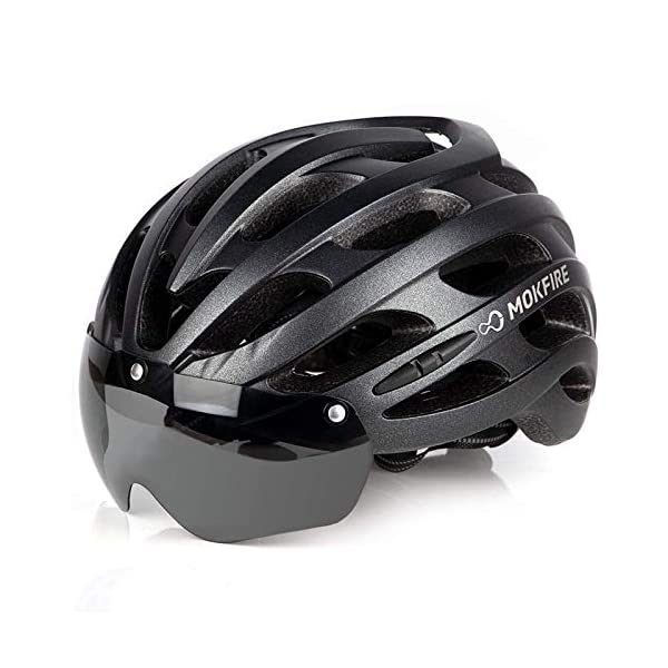 Adult Cycling helmet MOKFIRE Bike Helmet with USB Light Detachable Magnetic Goggles Road & Mountain Bicycle Cycling Helmets Adjustable Size for Adults Men/Women(22-24 Inches)