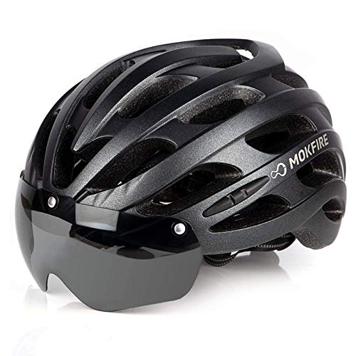 MOKFIRE Bike Helmet with USB Light Detachable Magnetic Goggles Road & Mountain Bicycle Cycling Helmets Adjustable Size for Adults Men/Women(22-24 Inches)