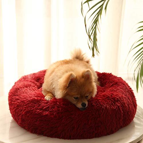 LHY Redonda Cama Perro Gato Cama Cama de Felpa para Mascota Lavable Sofa Suave Cachorro Calentito Cojín,Rojo,39.37in