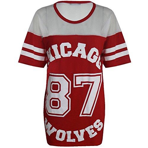 Damen T-Shirt Chicago 87 Wolves Lockeres Übergroßes Baseball T-Shirt Kleid Langes Top - S/M (EU 36/38), Rot - Lockere Passform American Football Fußball