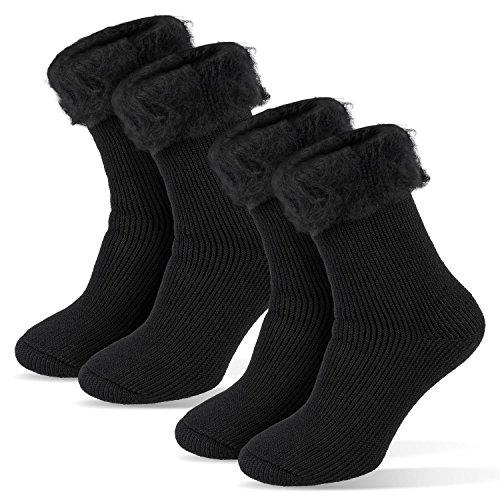 Tarjane Damen Thermo Socken Thermosocken Kuschelsocken mit hohem TOG Wert von 2.3 36/41 - Schwarz 2 Paar